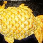 Рыбный пирог из слоеного теста Золотая рыбка.